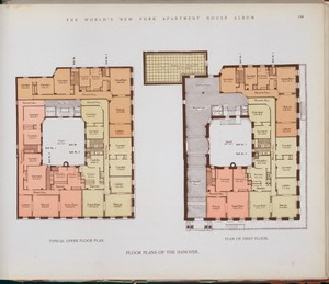Floor plans of The Hanover. Digital ID: 417378. New York Public Library