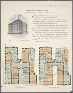 Charleston Court, southwest corner Broadway and 163d Street; Plan of first floor; Plan of upper floors.