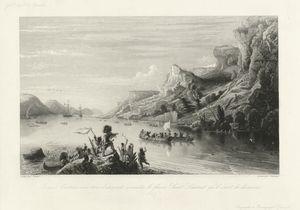 Jacques Cartier avec trois batiments remonte le fleuve Saint Laurent qu'il vient de découvrir (1535).
