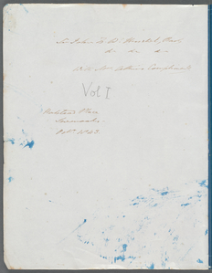 """[Inside front wrapper, with inscription to Sir John Herschel in ink, and notation """"Vol I"""" in pencil.]"""