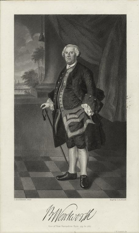 B. Wentworth, gov. of New Hampshire from 1741 to 1767.