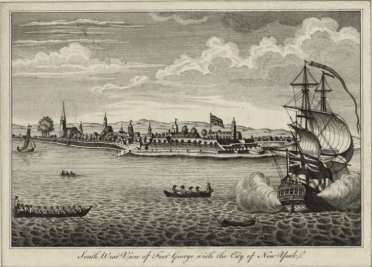 Southwest view of Fort George with the City of New York.