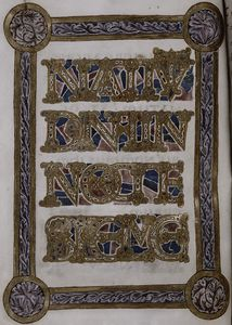 Decorated text page in frame: Nativitas Domini in nocte...