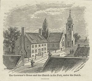 The Governor's House and the church in the fort under the Dutch / Lossing-Barritt