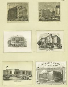 The Grand Hotel; Hotel Brunswick; [Rathbun's]; Hoffman House & Worth Monument; Earle's House; Carlton House