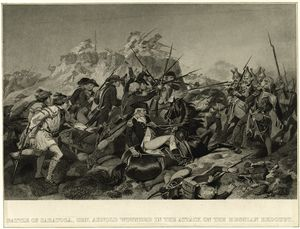 Battle of Saratoga : Gen. Arnold wounded in the attack on the Hessian redoubt.