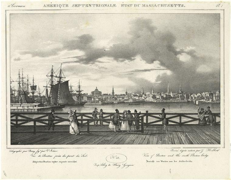 Vue de Boston prise du pont du Sud.