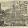 The Japanese in New York - View of the Splendid Procession Accompanying the Distinguished Visitors Approaching the Metropolitan Hotel.
