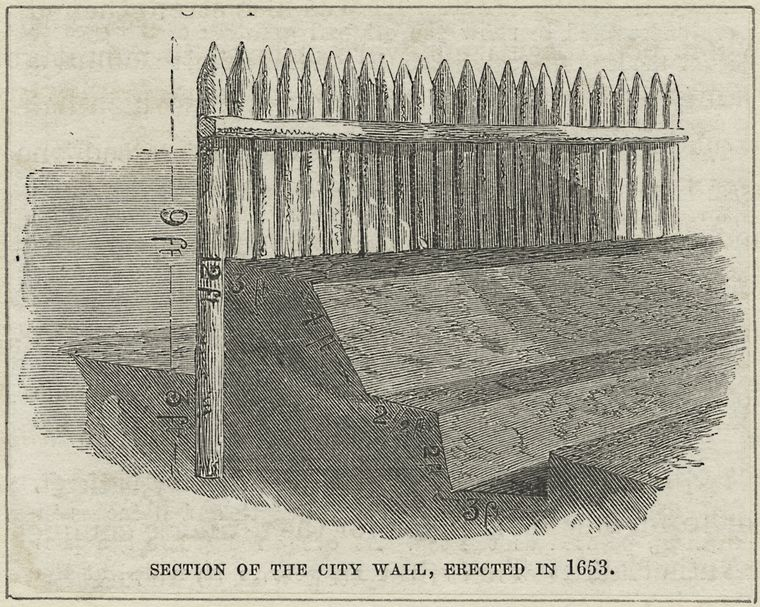 Section of the city wall erected in 1653