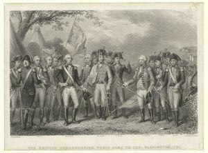 The British surrendering their arms to Gen: Washington. 1781