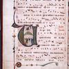 Large illuminated initial on penwork field.  Smaller initials, border design, rubrics.