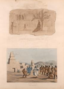 Ruins of a wall near the temple at Offedina [Offelina, or Maharraqa], Nubia (Pl. 29) [top]; Arabac [Arabic] dance (Pl. 30) [bottom].