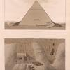 Entrance of the second pyramid of Ghizeh [Jîzah] discovered and opened by G. Belzoni, 2nd March 1818 (Pl. 9) [bottom] ;  Section of the pyramid (Pl. 10) [top].
