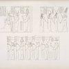 Quadri del tempio di Erment: il fanciullo Phreto allattato dalle dee; e la sua madre Trito condotta al cospetto di Amon-re e di piu altri dei.