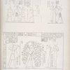 1. Ramses III in mezzo ad Horus ed Atmu [Atum]. 2. Riceve la panegiria da Saf [Seshat]. 3. Sta in mezzo all' albero persea? tra Thoth, Phtah e Pasct.