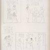 Amada: 1. Thutmes-Moeris [Thutmose III] abbracciato da Amon-re. 2. Viene a dedicare un edifizio insieme con Saf [Seshat]. 3. E abbracciato da Iside [Isis]. 4. Offre fiori ed oche a Phre [Ra].