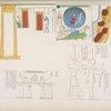 Isola di Phile] 1. Rappresentazione della cataratta con la mummia di Osiride ec.  2. Iside e Thoth. 3. La Bari d'Iside portata da sacerdoti.