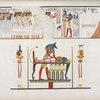 Accompagnamento di una mummia al sepolcro. - Il dio Anubi [Anubis] presta gli ultimi uffizi a un defunto.