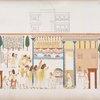 Vita domestica: Immagine esterna di una casa; Cortile interno di una casa con giardino, ove si rappresenta una festa.