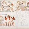 Gli Ebrei che fabbricano i mattoni. Pittori e scultori di statue e di vasi.