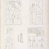 Fig. 1. Il re Osorkon riceve lo scettro degli anni da Amon-rê .  Fig. 2, 3. Il re Sciabak [Shabaka] abbracciato da Athyr [Hathor] e da Tamon [Neith]. Fig. 4. Statuetta di Phrê con leggenda di Sciabak.  Fig. 5. Il re Sciabatok  fa offerte ad Amon-rê e Mut.