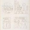 Fig. 1. Frammento di un'offerta del re Nectanebo.  Fig. 2. Il medesimo percote un mazzo di nemici dinnanzi ad Amon-rê.  Fig. 3. Il re Amirteo [Teos] fa  offerta a Scions. Fig. 4. Il re Psammutis [Psamtik ]offre ad Amon-rê e Scions.