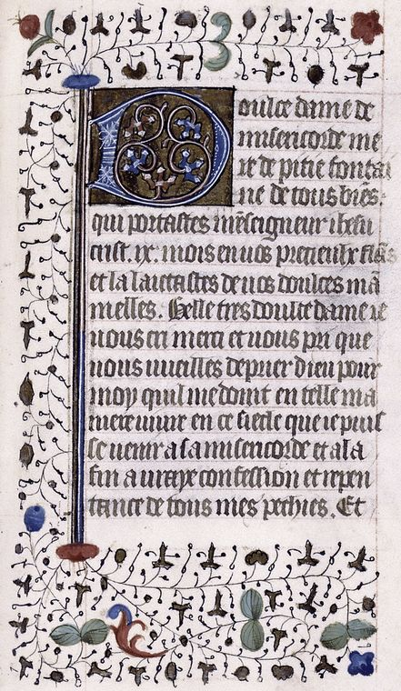 Opening of French text, large initial and border design.