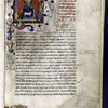 Opening of text, large painted initial with angel figure pasted in, rubric, placemarkers, hand 1.