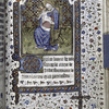Miniature of Virgin and Child, with diapered background. Large initial, border design. French text.