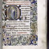 Opening of text with large illuminated initial showing Virgin and Child.  Other initials, rubrics, placemarkers, and border design with figure of lion.