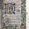 Large illuminated initial, border work, small initials, rubric, placemarkers.