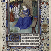 Miniature of Virgin and Child, opening of French text.