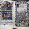 Opening miniature (four Evangelists) and opening of main text.  Border designs, initial, rubric.