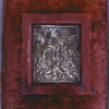 Front cover of binding with silver plaque of Moses striking the rock.