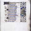 Page of calendar for the month of February, in French, with entries for each day; border decoration includes a winged grotesque.