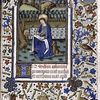 Opening of main text, miniature of John the Evangelist, initial, rubric and border decoration.