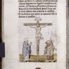 Text with initials and placemarkers.  Color drawing of Crucifixion, possibly 16th century