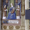 Miniature of Virgin and Child enthroned and opening of French text.