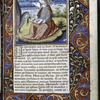 Miniature of John the Evangelist on Patmos, with the eagle holding the saint's pen case; line fillers on last two text lines to justify the right margin of text.