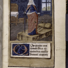 Opening of text with large initial on painted field.  Miniature of embodiment of Justice.