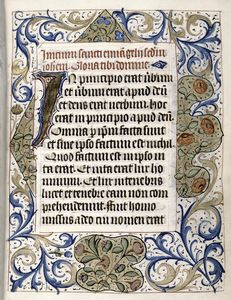 Opening of main text, large initial, full border decoration, rubric, linefiller.