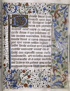 Opening of French text, border decorations.