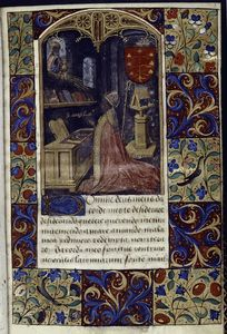 Miniature of Augustine, opening of text, full border design, initial, hand 1.