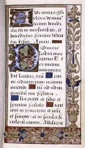 Opening of main text, border design, large and small initials, linefillers.