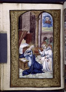 Full-page miniature of Annunciation.