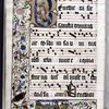 Large historiated initial showing the Trinity, on gold field, with three-side border including miniature showing two people before Adrianus, birds, insects, human figures, and flowers.