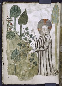 Full-page miniature of God creating flowers and plants.