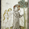 Full-page miniature of God pointing out the apple tree to Adam and Eve.