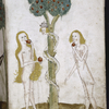 Full-page miniature of Adam, Eve and the Serpent.