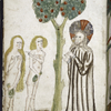Full-page  miniature of Adam and Eve questioned by God.